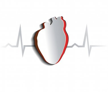Heart, cardiogram concept. Paper looking design. Heart and heart rate monitoring line. stock vector