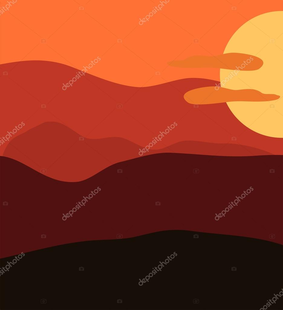 Sunset illustration. Beautiful harmonic colors.