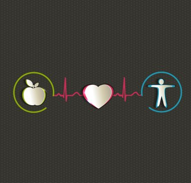 Healthy living symbols connected with normal heart sinus rhythm