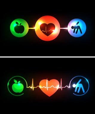 Cardiology health care symbols connected with heart beat rhythm