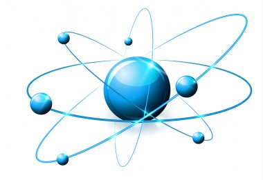 Molecule abstract illustration, beautiful bright blue colors