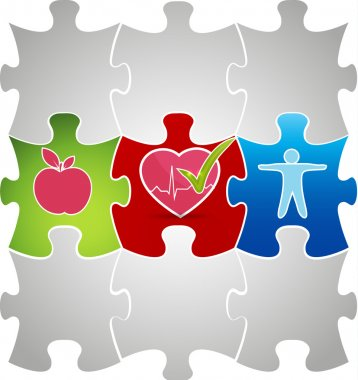 Healthy living puzzle concept. Healthy food and fitness leads to