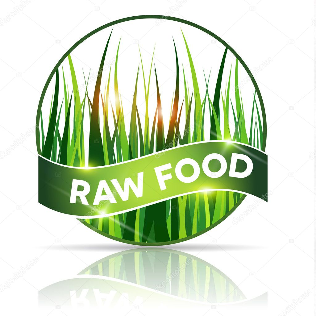 Raw food icon, beautiful grass illustration in round shape