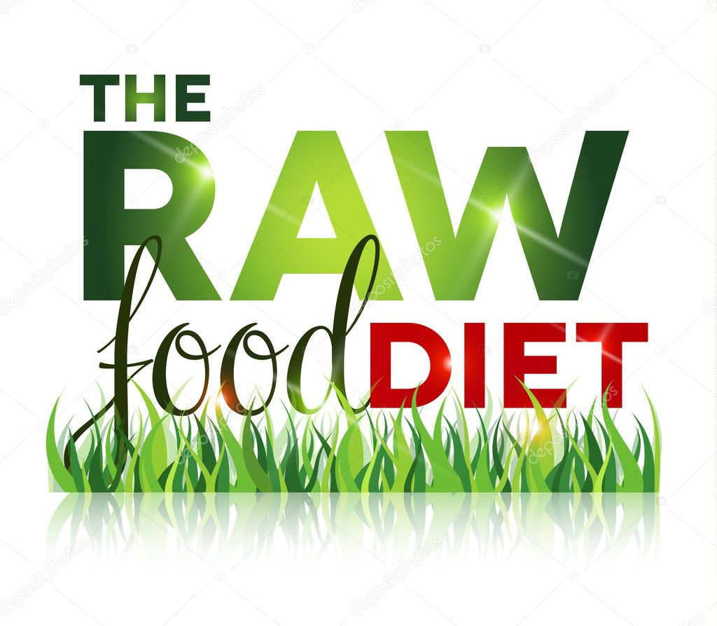 Raw food diet text with grass