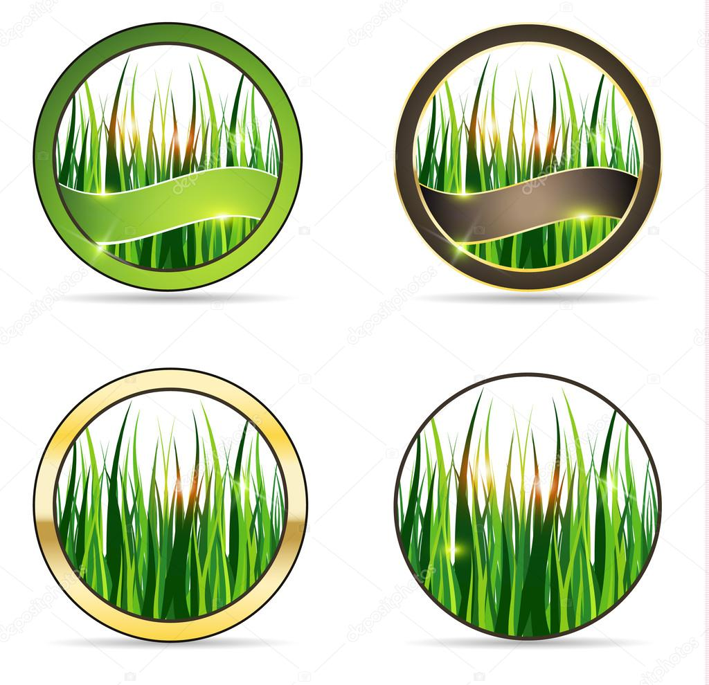 Nature and grass icon set