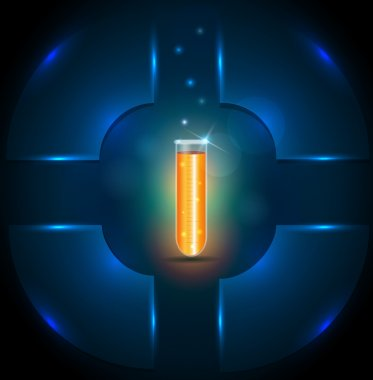 Test tube with orange liquid, template design, add your text if