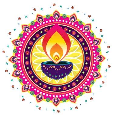 Colorful Diwali Candle Light illustration design stock vector