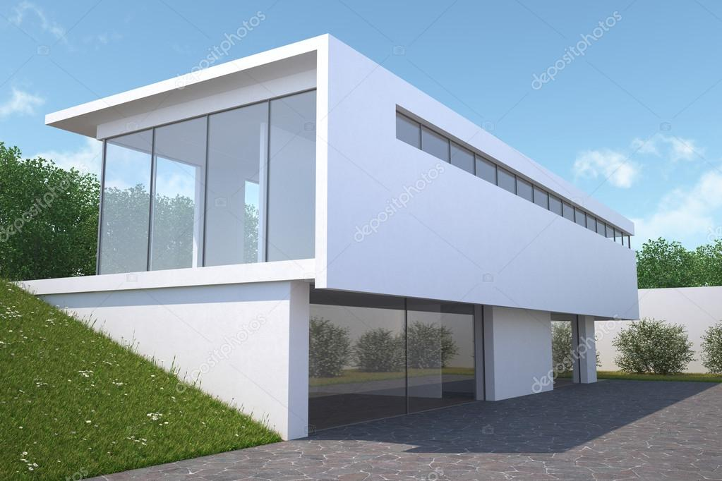 Moderne huis met uitzicht op de tuin exterieur u2014 stockfoto © anhoog