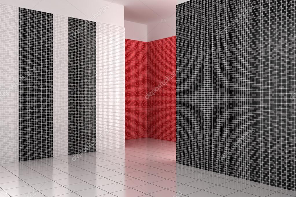Bagno Con Mosaico Nero : Vuoto moderno bagno con piastrelle bianco nero e rossi u foto