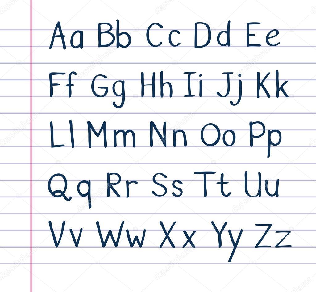çizgili Kağıt üzerinde El Yazısı Alfabesi Stok Vektör Noedelhap