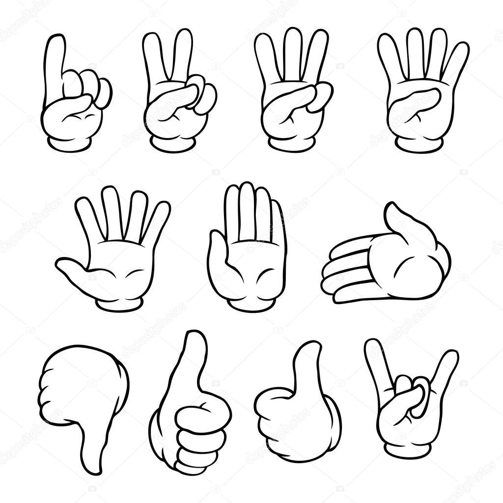 jeu de mains de dessin anim u00e9 noir et blanc  u2014 image