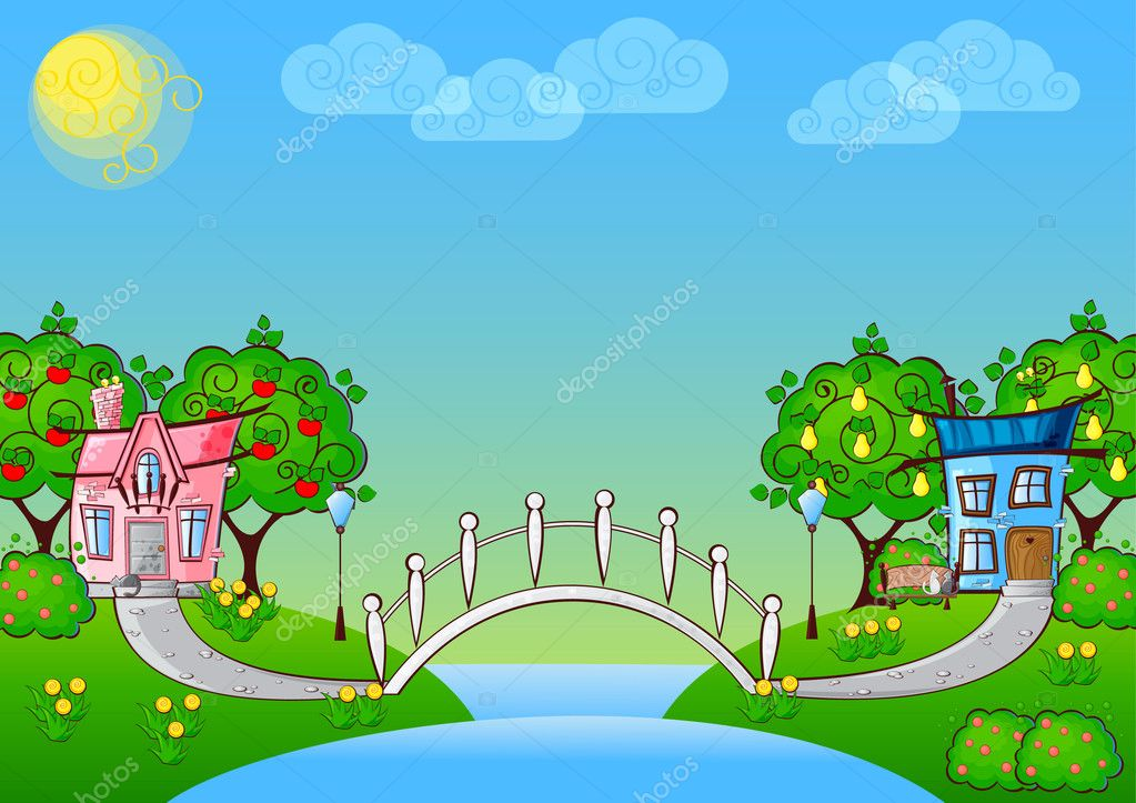 Background cartoon house