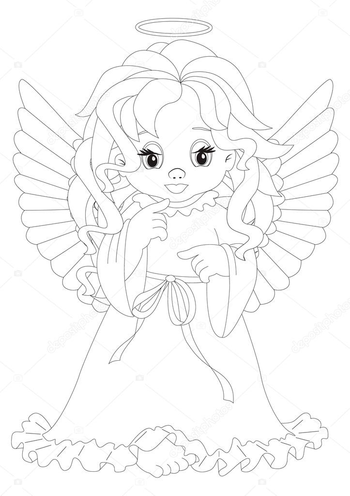 Küçük Melek Boyama Sayfası Stok Vektör Rodakm 20130551