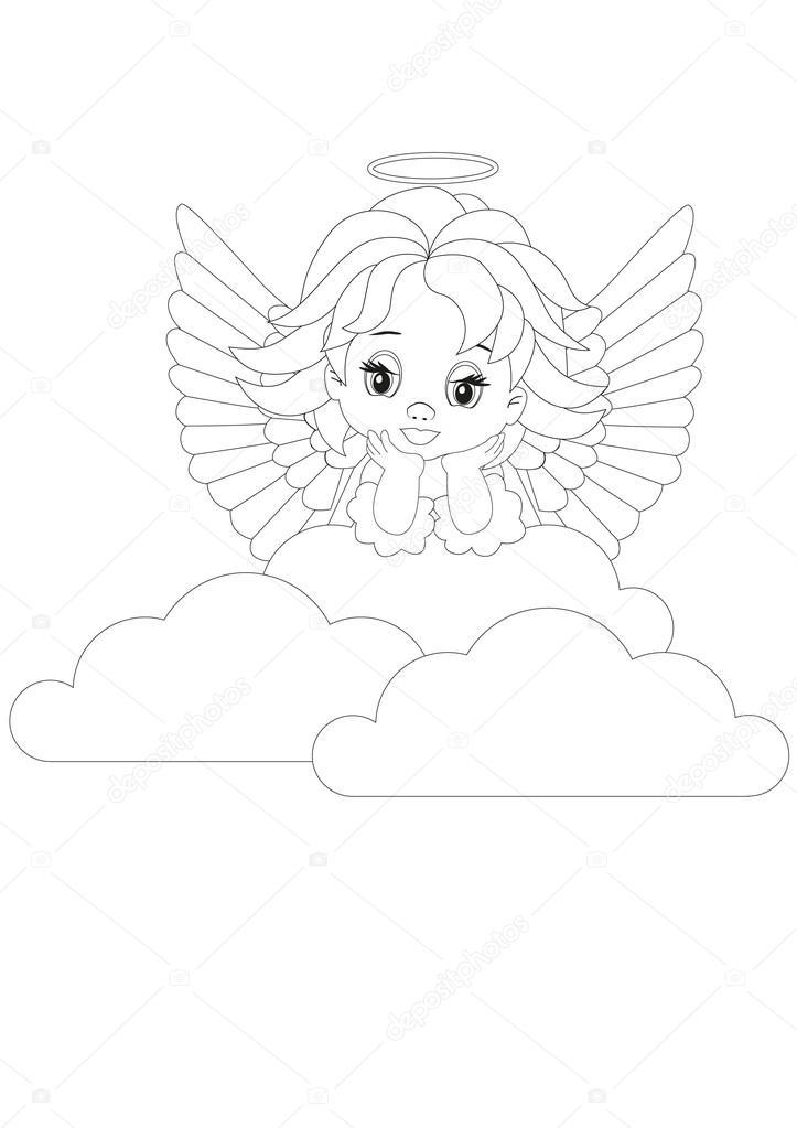 pequeña página para colorear de ángel — Vector de stock © rodakm ...