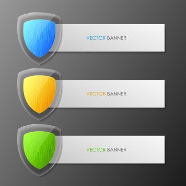 Set of colorful vector banners- shield