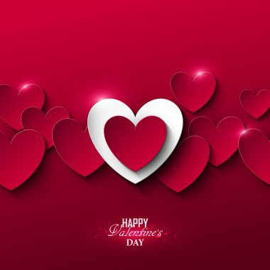 Bright Valentines day background with hearts stock vector