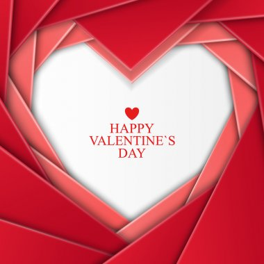 Bright Valentines day background with heart on red background clip art vector