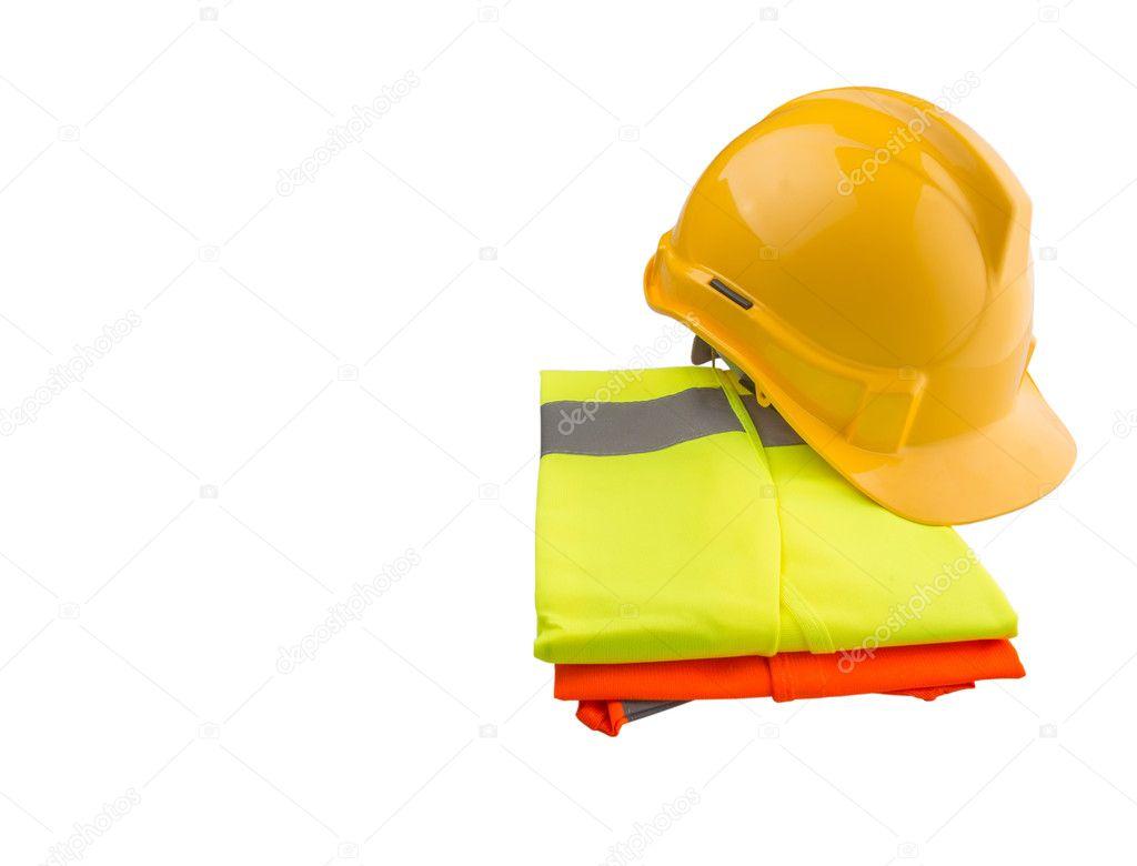 Žlutá Čepice Oranžové Žluté Reflexní Vestu Nad Bílým Pozadím — Stock  fotografie 2b504348d4