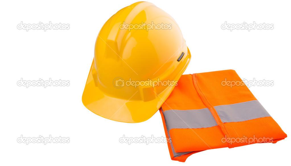 Žlutá Čepice Oranžové Reflexní Vestu Nad Bílým Pozadím — Stock fotografie b263b0cfa2