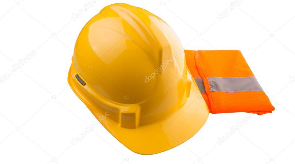žlutá čepice a oranžová reflexní vesta — Stock Fotografie ... 8c42e6a218