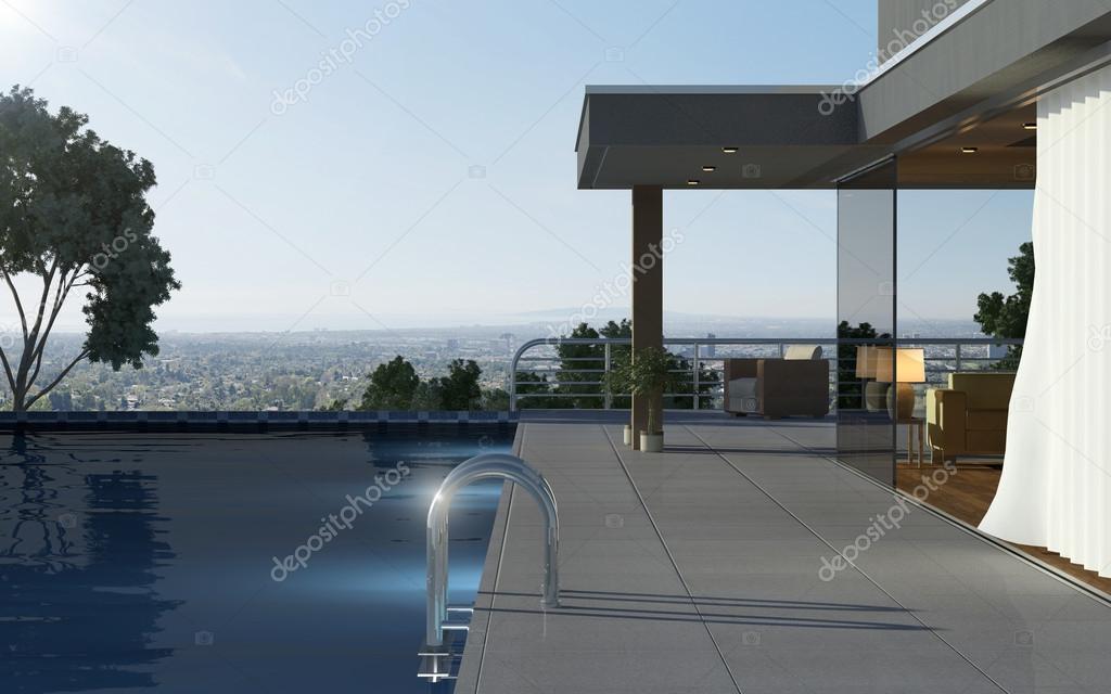 Moderne huis met zwembad en mooi uitzicht u stockfoto nitzman