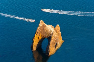 Famous Golden Gate rock in Karadag National park near Koktebel, Crimea