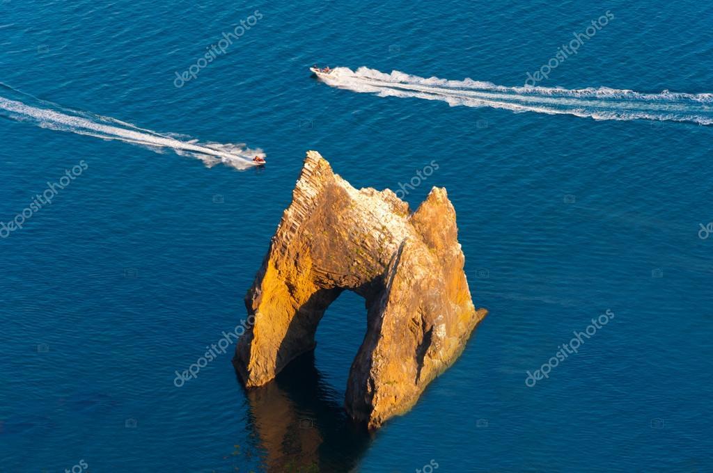 Famous Golden Gate rock in Karadag National park near Koktebel, Crimea