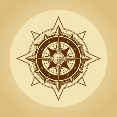 Wind rose in old retro style. Vector.