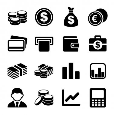 Money and coin icon set. Vector illustration. stock vector