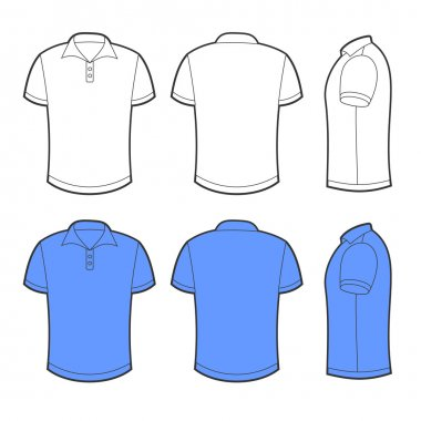 Front, back and side views of white and blue blank polo stock vector