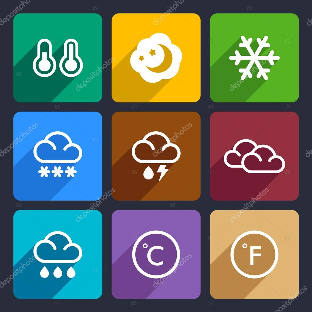 Weather flat icons set 28