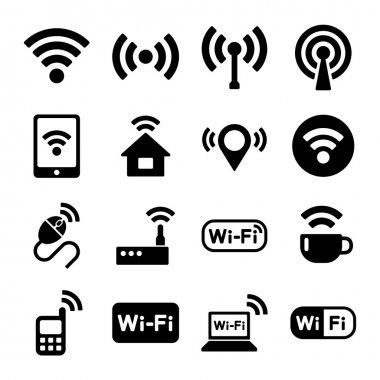 Wireless technology, Wi-Fi web icons set.