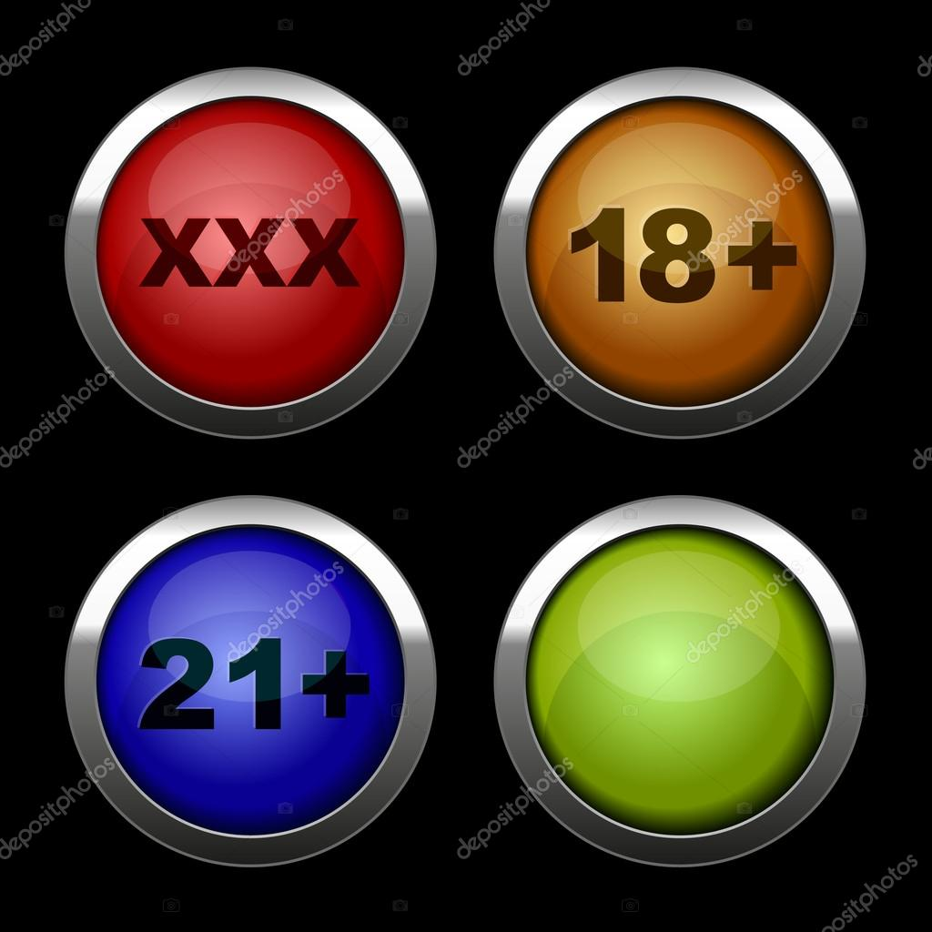 Xxx buttons icons set. Red, orange, blue and green.