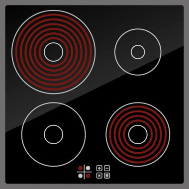 Kitchen Electric hob with ceramic surface and touch control panel