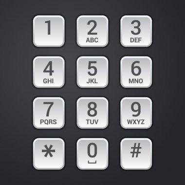Digital dial plate of security lock or telephone keypad vector