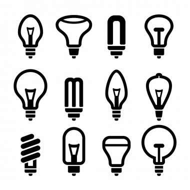 Light bulbs. Bulb icon set 2. Vector