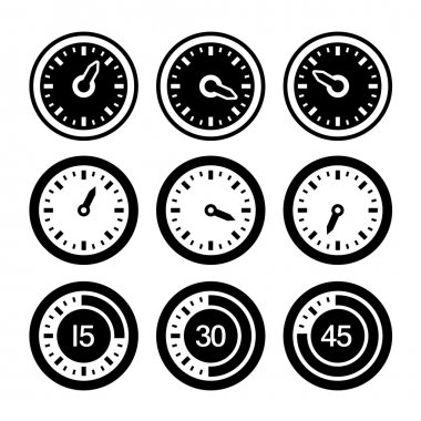 Dial and Timers Icons Set. Vector
