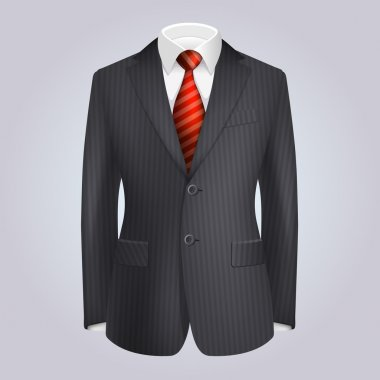 Male Clothing Dark Striped Suit with Red Tie. Vector
