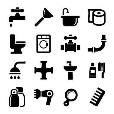 Bathroom Icons Set on White Background. Vector