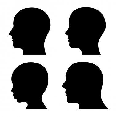People Profile Head Silhouettes Set. Vector