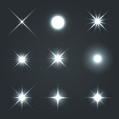 Light Glow Flare Stars Effect Set. Vector stock vector