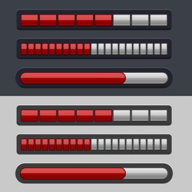 Red Striped Progress Bar Set on light and dark background. Vector clip art vector