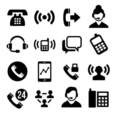 Phone and Call Center Icons Set. Vector stock vector