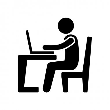 Pictogram Businessman Working on Computer.  Vector