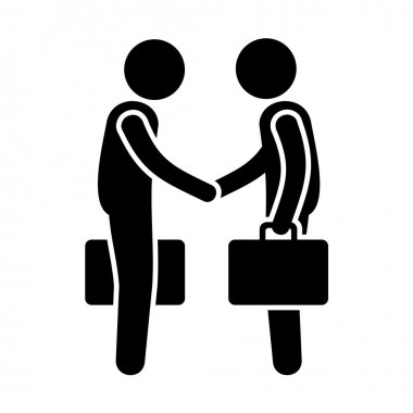 Business Mans Handshake. Greetings Gesture Stick Figure Pictogram Icon. Vector