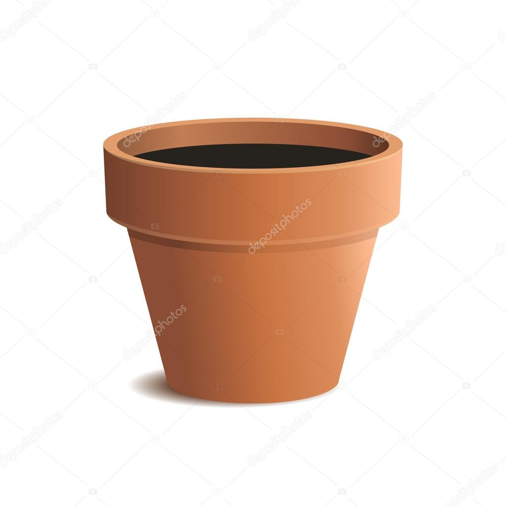 Flower Pot Isolated on White Background. Vector