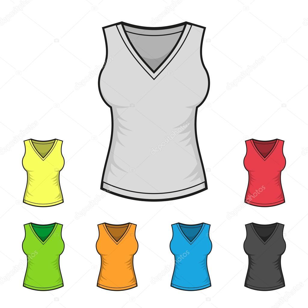 Damen v-neck Shirt Design Vorlage Farbe eingestellt. Vektor ...