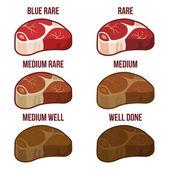 Fényképek fokú steak készenléti szint ikonok beállítása. vektor