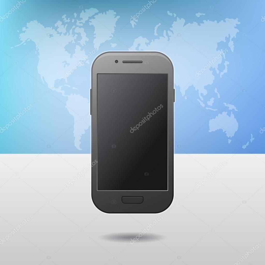 Modello Con Touchscreen Telefono Cellulare Dispositivo E Mondo Mappa