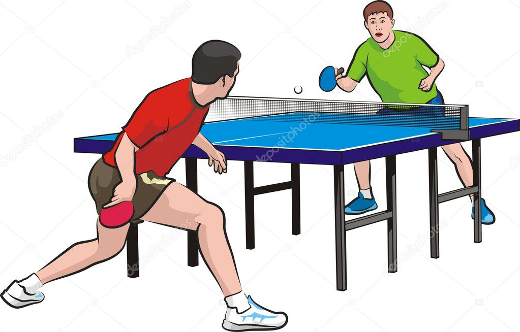 Dos jugadores jugar tenis de mesa vector de stock for Madison tenis de mesa